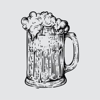 Ilustración del vaso de cerveza en estilo grabado