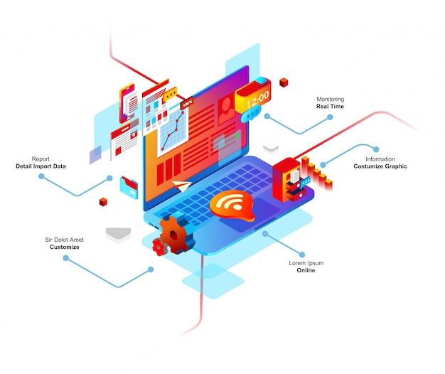 Ilustración de vector 3d isométrica del sistema inteligente de computadora, hay wi-fi, tarea, conexión, computadora
