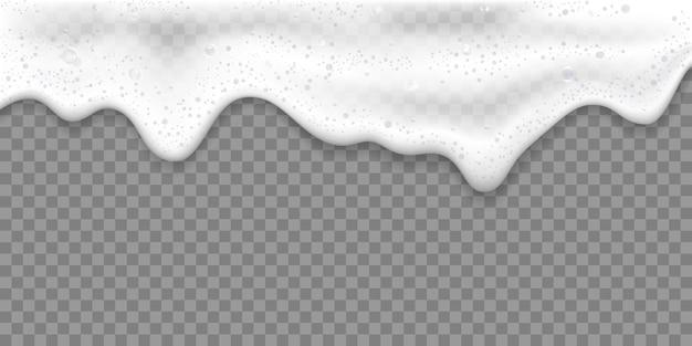 Ilustración de vector 3d realista de espuma de baño o espuma de cerveza, aislado sobre fondo transparente.