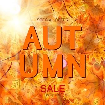 Ilustración de vector abstracto fondo de venta de otoño con caída de hojas de otoño. eps10