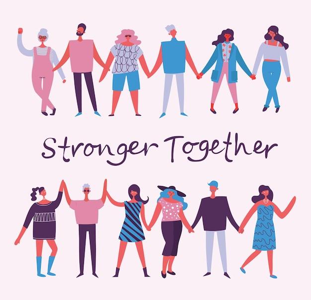 Ilustración de vector de activistas hombres y mujeres tomados de la mano juntos en el concepto de estilo plano illu ...