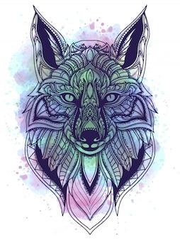 Ilustración de vector de acuarela y línea arte zorro