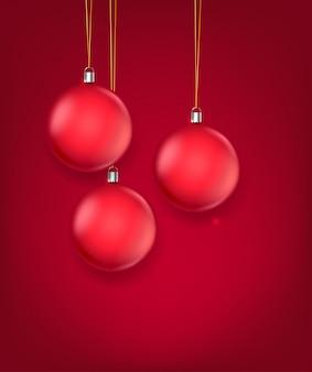 Ilustración de vector de adornos de navidad de cristal rojo mate. plantilla de tarjeta de felicitación