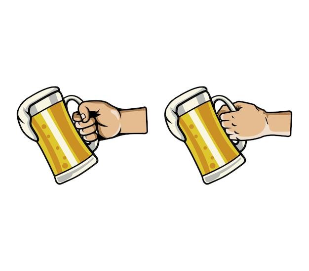 Ilustración de vector de agarrar la mano vaso de cerveza