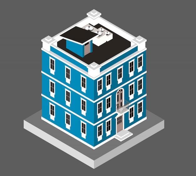 Ilustración del vector aislado. casa moderna. edificio de vivienda urbana con ventanas y aire acondicionado.