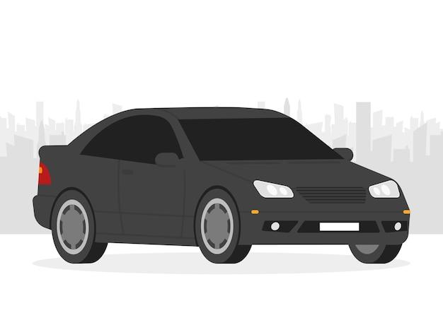 Ilustración de vector aislado de coche. automóvil en el fondo de la ciudad.