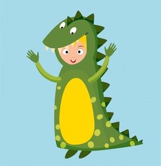 Ilustración de vector aislado traje de cocodrilo dragón niño