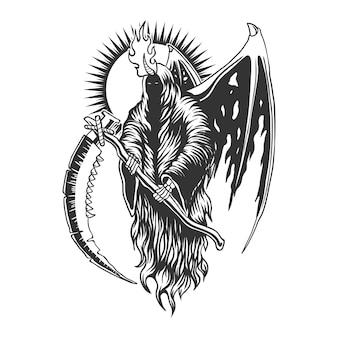 Ilustración de vector de ala de diablo segador