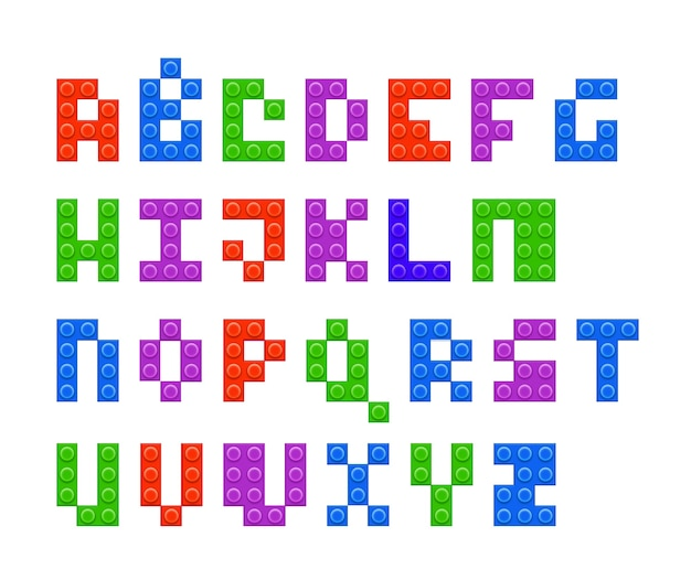Ilustración de vector de alfabeto de constructor de plástico de 4 colores