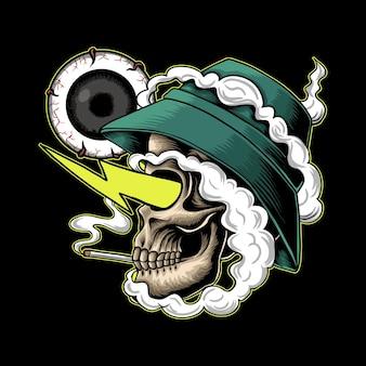 Ilustración de vector alto de humo de cráneo