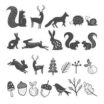 Ilustración de vector de animales del bosque, hojas y ramas.