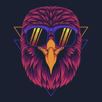 Ilustración de vector de anteojos de cabeza de águila
