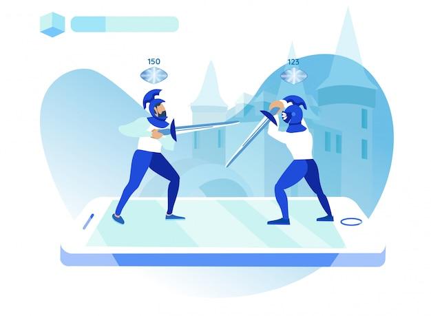 Ilustración de vector de aplicación móvil de juegos.