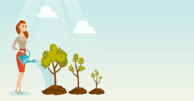 Ilustración de vector de árboles de riego de mujer de negocios.