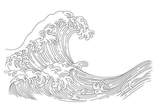 Ilustración de vector de arte de línea de onda japonesa.