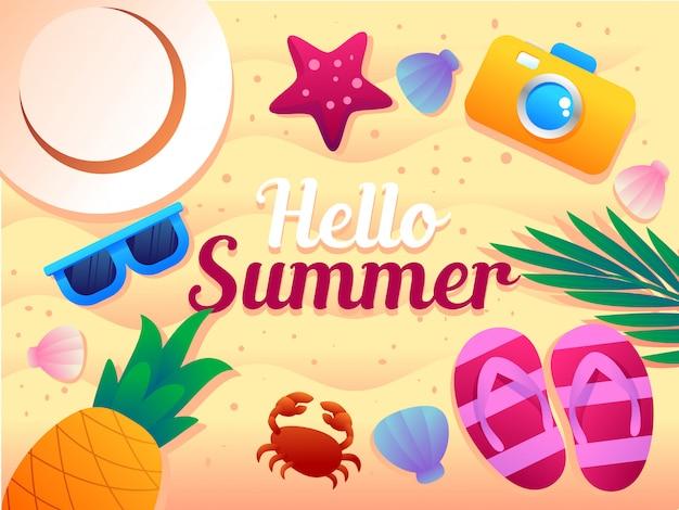 Ilustración de vector de artículos de vacaciones de verano