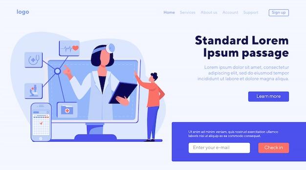 Ilustración de vector de asistencia médica en línea