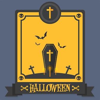 Ilustración de vector de ataúd de cartel de halloween