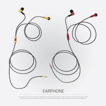 Ilustración de vector de auriculares de música con teléfono