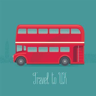 Ilustración de vector de autobús rojo de dos pisos de londres, gran bretaña
