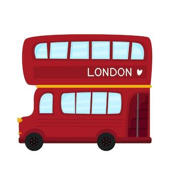 Ilustración de vector de autobús rojo de dos pisos retrobus de vehículo de servicio de transporte público de la ciudad