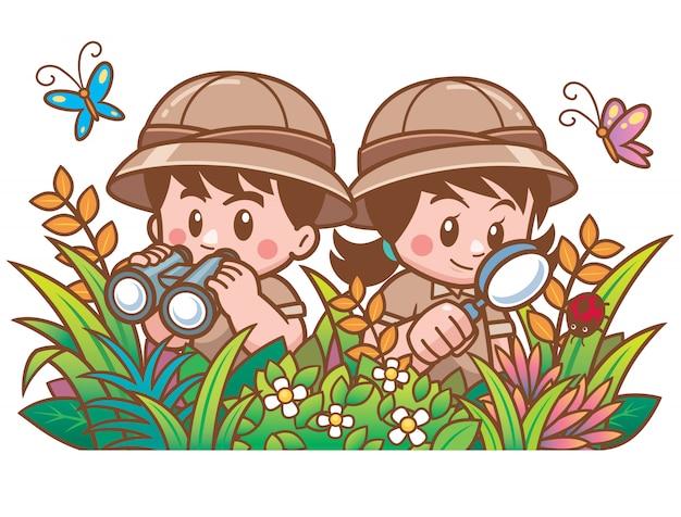 Ilustración de vector de aventura safari niño y niña