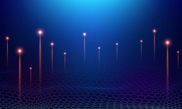 Ilustración de vector azul de concepto de red