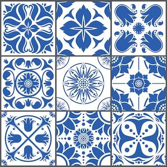 Ilustración de vector de azulejos de cerámica vintage