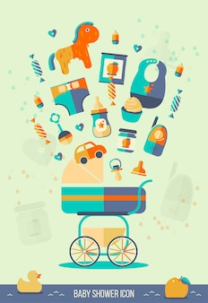 Ilustración de vector baby shower.