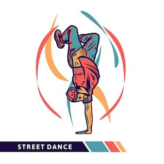 Ilustración de vector de baile callejero con hombre haciendo baile de estilo libre con ilustración vintage de color de movimiento