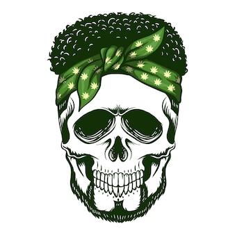 Ilustración de vector de bandana de cráneo