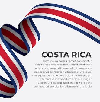Ilustración de vector de bandera de cinta de costa rica sobre un fondo blanco vector premium