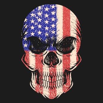Ilustración de vector de bandera de estados unidos de cráneo