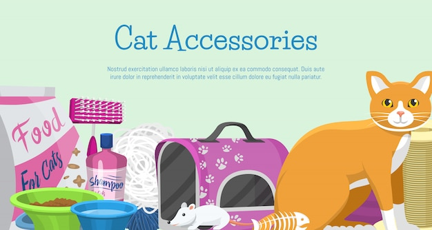 Ilustración de vector de banner de accesorios de gatos artículos para animales, comida, juguetes para gatos, inodoro y equipo para aseo y cuidado de mascotas.