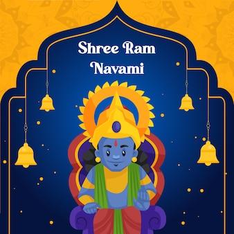 Ilustración de vector de banner creativo shree ram navami en estilo de dibujos animados