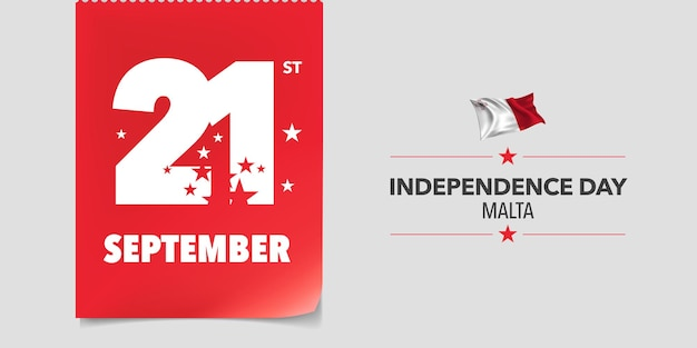 Ilustración de vector de banner de tarjeta de felicitación de día de la independencia de malta