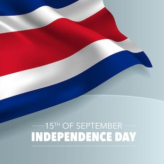 Ilustración de vector de banner de tarjeta de felicitación de feliz día de la independencia de costa rica