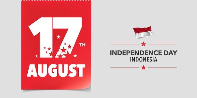 Ilustración de vector de banner de tarjeta de felicitación de feliz día de la independencia de indonesia