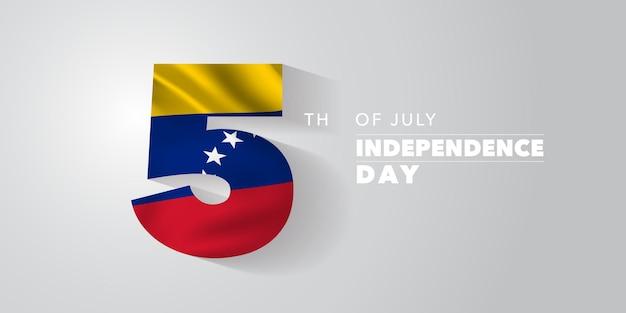 Ilustración de vector de banner de tarjeta de felicitación de feliz día de la independencia de venezuela