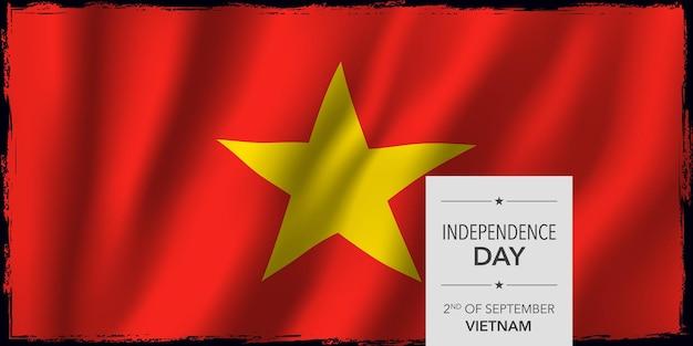 Ilustración de vector de banner de tarjeta de felicitación de feliz día de la independencia de vietnam