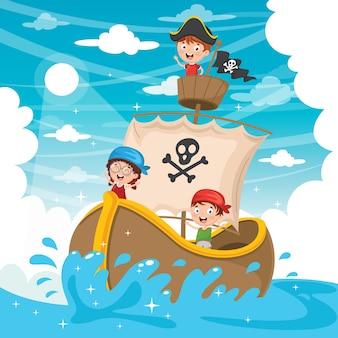 Ilustración del vector del barco pirata de los niños de la historieta