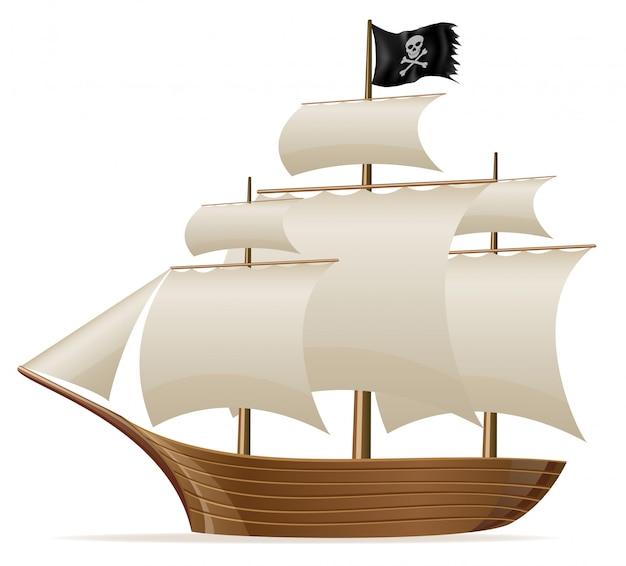 Ilustración de vector de barco pirata