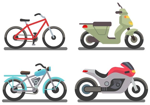 Ilustración de vector de bicicleta y moto