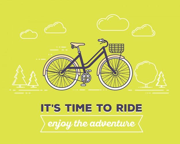 Ilustración de vector de bicicleta retro de color pastel con cesta y texto es hora de montar, disfrutar de la aventura en el fondo verde al aire libre. concepto de aventura en bicicleta.