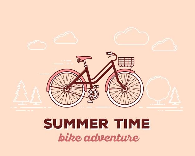 Ilustración de vector de bicicleta retro de color pastel con cesta y texto horario de verano en el fondo al aire libre. concepto de aventura en bicicleta.
