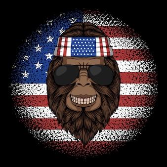 Ilustración de vector de bigfoot america bandana