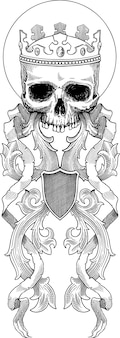 Ilustración de vector blanco y negro de calavera en corona decorada con adornos de estilo barroco