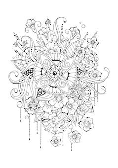 Ilustración de vector blanco y negro con flores. página para colorear para niños y adultos.
