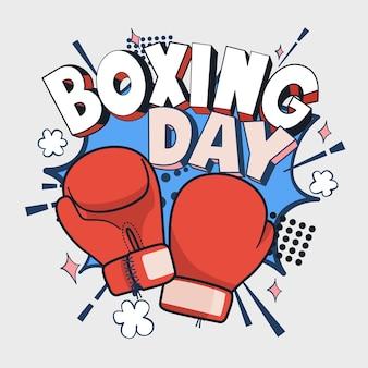 Ilustración de vector de boxing day, icono de guante de boxeo rojo de dibujos animados, anverso y reverso.