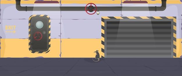 Ilustración de vector de un búnker. refugio antiaéreo en estilo de dibujos animados. puerta de la tolva.
